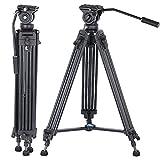 Yusen - Tripod de vídeo profesional (aluminio de 62 pulgadas con 360 grados) para cámaras Canon Nikon DSLR
