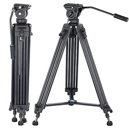 Trépied vidéo, trépied vidéo Professionnel YUSEN en Aluminium 61 Pouces avec tête Fluide à 360 degrés pour caméscopes Canon Nikon DSLR