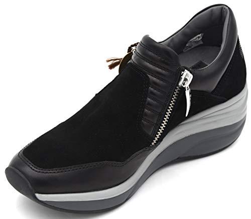4US CESARE PACIOTTI Donna Scarpa Sneaker Slip ON Casual Tempo Libero 00ED2WCA 35 Nero Black