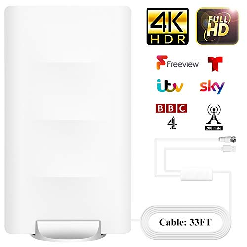 Outdoor Indoor TV Antenna Amplified HD Digital TV Antenna Long 150 Miles Range - Support 4K 1080p Fire tv Stick and All Older TVs - Smart Signal Booster - 17 ft Coax HDTV Cable AC Adapter White