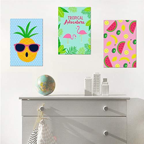 Asade Happy Fresh Fruits Banana Limón Piña Pegatinas De Pared Restaurante Cocina Cafe Decor Poster Mural Tatuajes De Pared