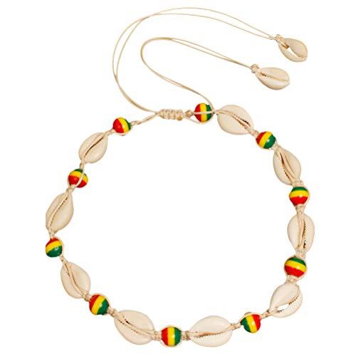 Holibanna Gargantilla de Concha de Marihuana Collar Colgante de Cowrie Joyería de Cuello de Verano para Mujeres Niñas (Colorido)