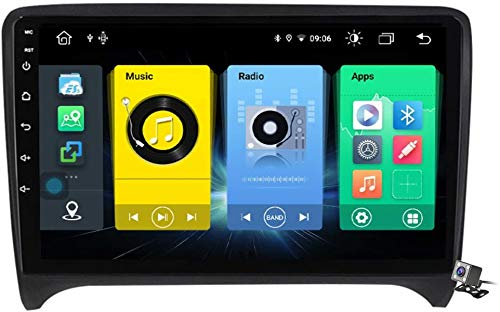 Android 9.1 GPS Navigation Stereo Radio para Audi TT 2 8J 2006-2014, 9' Pantalla Coche Media Player Soporte Carpaly/5G FM RDS/Control Volante/Bluetooth Hands-Free