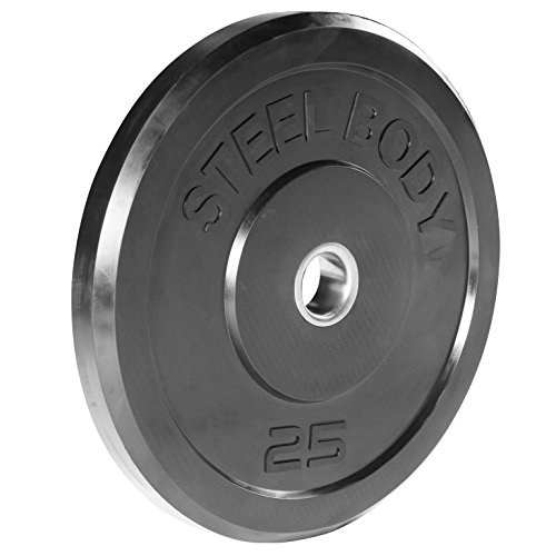 Steelbody Olympic Rubber Bumper Weight Plate - 10 lb. / 25 lb. / 35 lb. / 45 lb. Workout Weights, 25-Pound