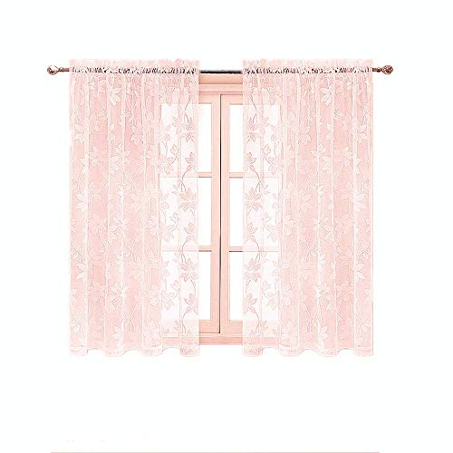 Gxi Pink Lace Curtains 63 inches Length Sheer Voile Panel for Living Room Sliding Door Rod Pocket Embroidered Floral Tulle Curtain Drapes for Girls Bedroom Wedding, 2 Panels W55 x L63 inch