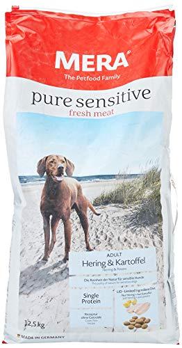 Mera pure sensitive fresh meat Adult haring en aardappel hondenvoer – droogvoer voor honden met een recept zonder granen en 25% vers vlees, haring, aardappel, 12,5 kg