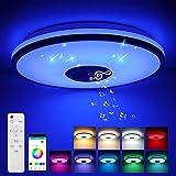 Lámpara De Techo Led Con Altavoz Bluetooth 36W RGB lampara led techo regulable para altavoz inteligente Wi-Fi, Compatible conAlexa y Google Home
