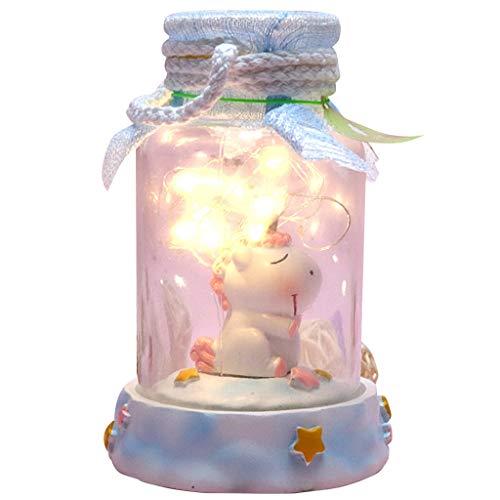 Hongfago LED Flaschenlicht warmweiß Handwerk Glas Flaschen Licht LED Einhorn Lichterkette,Jar Fee Licht,Lichterkette im Glas für Party Valentinstag Thanksgiving (Rosa Einhorn)