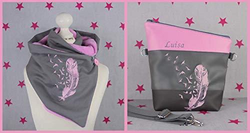 pinkeSterne ☆ Handtasche und Wickelschal Knopfschal FoldOver Schultertasche Pusteblume Handmade Grau Rosa