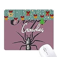 昆虫のクモがクモの巣のイラストブラック ゲーム用スライドゴムのマウスパッドクリスマス