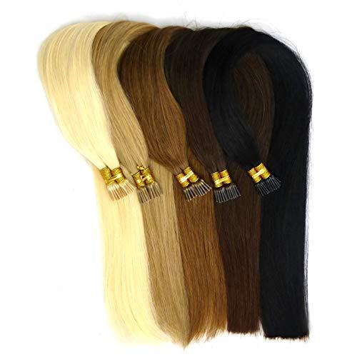 25 Microring Extensions I-Tip, Remy Echthaar 40 cm, 0,8 Gramm für Haarverlängerung oder Haarverdichtung (kastanienbraun)