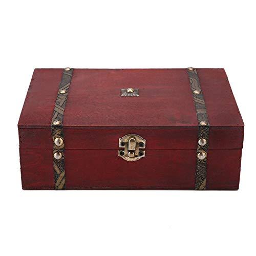 HERCHR Joyero de Madera Vintage, Caja de Tesoro Decorativa Caja de Almacenamiento de baratijas Cofre de joyería para Guardar Pendientes de Collar de joyería, 9.1x6.3x3 Pulgadas