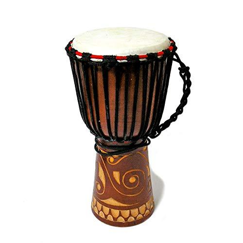 アジアの楽器 ジャンベ 太鼓 H.40cm 木彫り ブラウン インテリア アジアン バリ タイ エスニック 民族 ドラム 雑貨