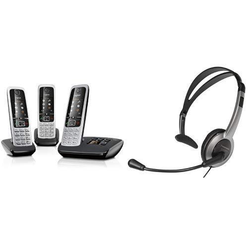 Gigaset C430A Trio Telefon - Schnurlostelefon / 3 Mobilteile mit Anrufbeantworter / Freisprechfunktion - Analog Telefon - Schwarz & Panasonic RP-TCA430E-S Headset für KX-TGxx Serie