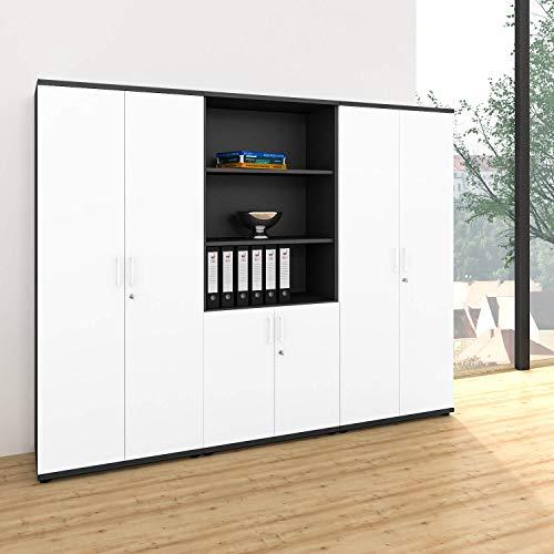 Weber Büro Profi Schrankwand abschließbar Schrank Büroschrank Flügeltürenschrank Kombischrank 5 OH Anthrazit/Weiß