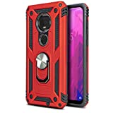 CasemartUSA Phone Case for [T-Mobile REVVLRY Plus (2019)], [Loop Series][Red] Full Rotating Metal Ring Shockproof Defender Cover with Kickstand for T-Mobile REVVLRY Plus (2019)