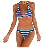 JINYAWEI Traje de baño de Mujeres Mujeres Boho Stripes Halter Push Up Bandeau Bikini Set Dos Piezas Swimsuits (Color : Blue, Size : M)