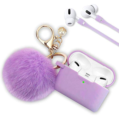 Case for Airpods Pro, Filoto Airpod Pro Case Cover for Apple AirPods Pro Wireless Charging Case, Cute Air Pods 3 Case Silicone Protective Accessories Keychain/Pompom/Strap(Lavender Purple)