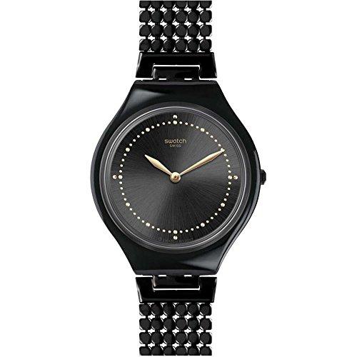 Swatch Unisex Erwachsene Analog Quarz Uhr mit Edelstahl Armband SVOB103GB