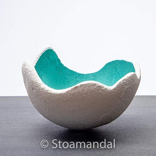 Lichtschale - Sahara - menta - M (20 cm) - Beton weiß - Unikat handmade