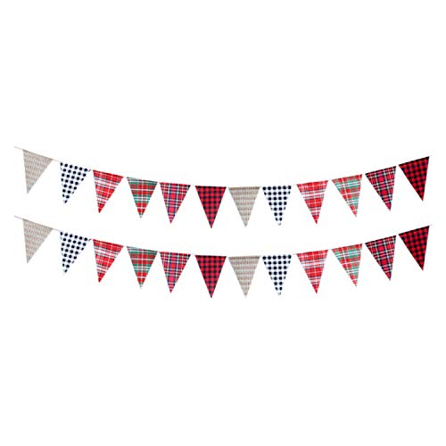PEPAXON Fabric Plaid Bunting Banner Linen Triangle Flags Garlands Hanging Decoration for Indoor Outdoor Garden Yard Decoration