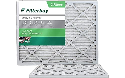 FilterBuy 18x20x1 Air Filter MERV 8, Pleated HVAC AC Furnace Filters (2-Pack, Silver)