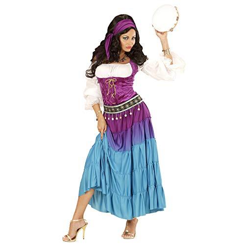 WIDMANN 67735 GYPSY (vestido, monedero, bandana) 67735 Gypsy gitana, carnaval, fiesta temática, Lila/Azul/Turquesa, XXL