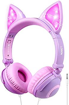 Lobkin Foldable Wired Over Ear Kids Headphone with Glowing Light