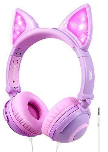 LOBKIN Kopfhörer Kinder, Katzenohr Kopfhörer mit Leuchtender LED, Faltbarer Leichter-Kopfhörer Kinder mit 3.5mm Audio Kable für Smartphone, Tablet, Laptop, Computer, MP3/4 (Purple+Pink)