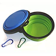 COMSUN Collapsible Dog Bowl, Foldable Expandable Cup Dish for Pet Cat Food Water Feeding Portable Travel Bowl Free Carabiner