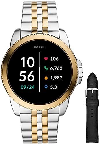 Fossil Smartwatch GEN 5E Connected da Uomo con Wear OS by Google, Frequenza Cardiaca, Notifiche per Smartphone e NFC con Cinturino in Silicio Nero