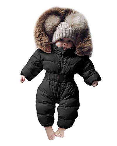 Minetom Baby Babykleidung Neugeborene Schneeanzug Winter Säugling Baby Junge Mädchen Spielanzug Strampler Jacke Mit Kapuze Overalls Warm Dicker Mantel Coat Outfit Schwarz 18-24Monate(80)