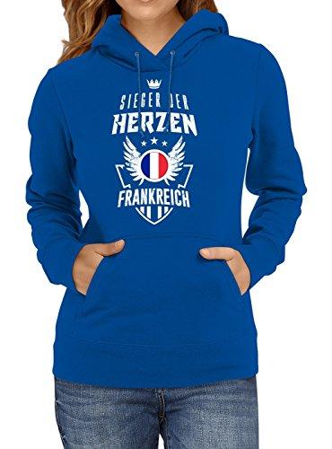 Frankreich Weltmeisterschaft 2018#22 Premium Hoodie Fan Trikot Fußball Weltmeisterschaft Nationalmannschaft Frauen Kapuzenpullover, Farbe:Blau;Größe:M