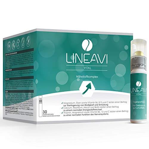 LINEAVI Vital, mit Vitaminen, Mineralstoffen und Omega-3-Fettsäuren, unterstützt das Nerven- und Immunsystem und den Energiestoffwechsel, in Deutschland hergestellt, 30 Trinkflaschen plus Kapseln