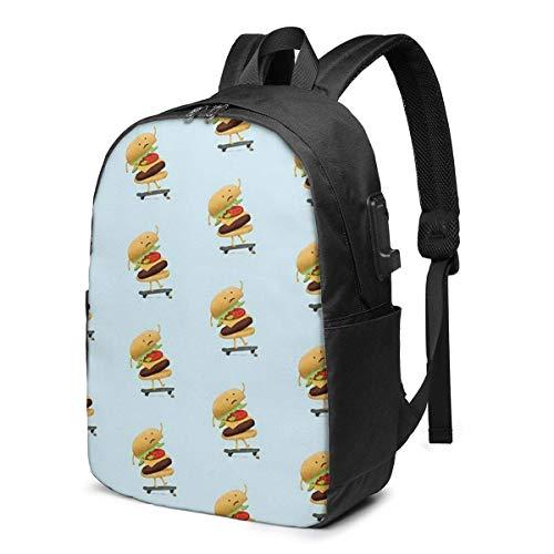 Hdadwy Mochila Escolar USB Burger Wipe-out, Mochila de Lona de Gran Capacidad, Mochila de Viaje Informal para Adultos, Adolescentes, Mujeres, Hombres, 17 Pulgadas