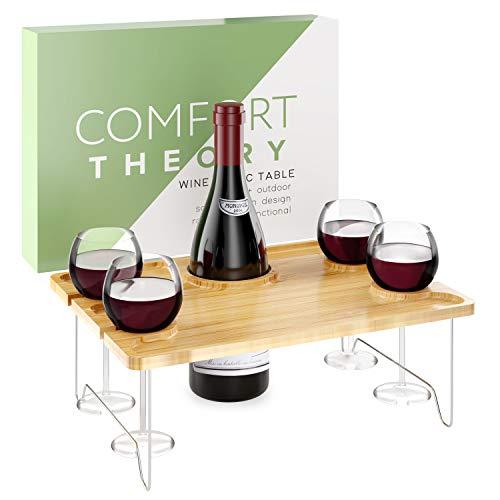 Comfort Theory Wein-Picknicktisch für romantische Abende | tragbarer Tisch für drinnen und draußen | Betttablett | Klapptisch mit Weinglas und harten Seltzer-Dosenhaltern | Käsebrett Serviertablett
