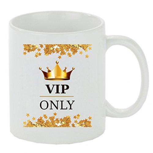 Creativ Deluxe Kaffeebecher VIP only Kaffeetasse, Kaffeetasse mit Motiv, Bedruckte Tasse mit Sprüchen oder Bildern - auch individuelle Gestaltung nach Kundenwunsch Teetasse, Bürotasse