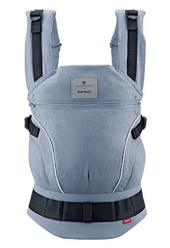 manduca First Marsupio  Bellybutton SoftCheck blue  Marsupio Portabambini, Cotone Biologico, Cintura Ergonomica, 3 Modi di Portare (avanti, schiena, fianco) per Neonati e Bambini (3,5-20kg), blu