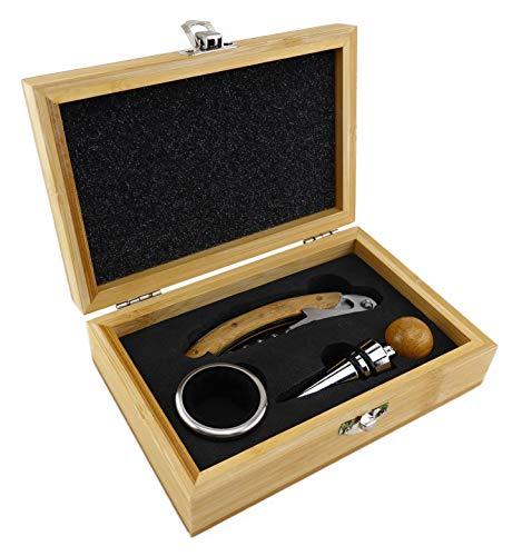 TigerTie - Wein-Set in Bambus-Box mit Kellnermesser/Korkenzieher, Weinkragen, Flaschenverschluss aus Edelstahl