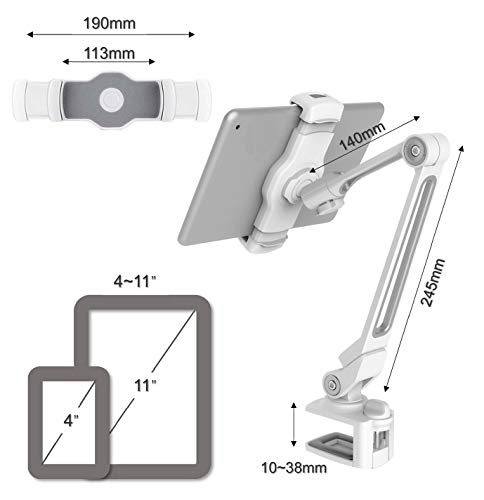 ZenCT Langarm, Aluminiumhalterung für iPad, 360° drehbar, Tablet-Halterung mit Halterung für iPad Pro 11, iPad Pro 9,7, iPad Air, iPad 4, 3, 2, iPad Mini, Smartphones