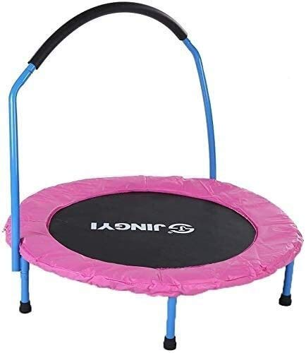 LuoMei Small Trampoline Rebounder for Adults Kids Fitness Trampolines Trainer with Adjustable Handle Bar for Indoor and Outdoor/Garden/Yoga Workout Exercisepink