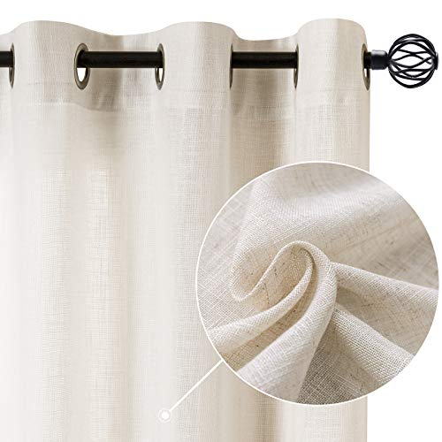 Linen Blend Curtains for Living Room 84 Inch Length Drapes Flax Draperies Window Treatments for Sliding Glass Doors Bedroom Curtain Panels 2 Panels Crude