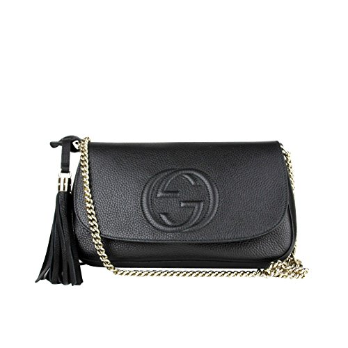 Made of Leather, Flap closure, Light gold hardware, Black leather tassel Embossed interlocking G, One slip pocket, One zip pocket; Handle drop 4 inches Measurements: 11 L x 7 H x 6 2.5 W inches; Shoulder strap drop 21 inches Original Gucci tags, dust...