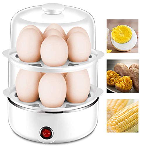 Eierdampfer,Multifunktionaler Kleiner Gedämpfter Eierkessel Doppelschichtdampfer Edelstahl-Mini-Frühstücksmaschine