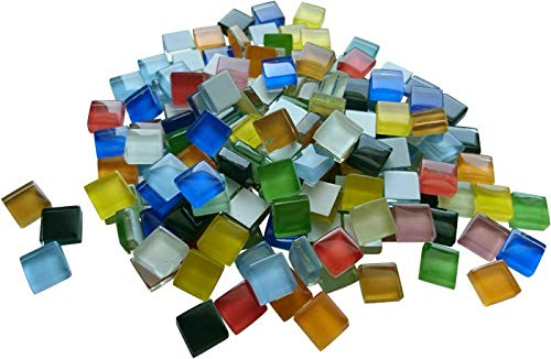 Fliesenhandel Fundus Softglas 200g 10x10 mm 1x1 Mosaik ca.215 STK Glasmosaik, buntmix