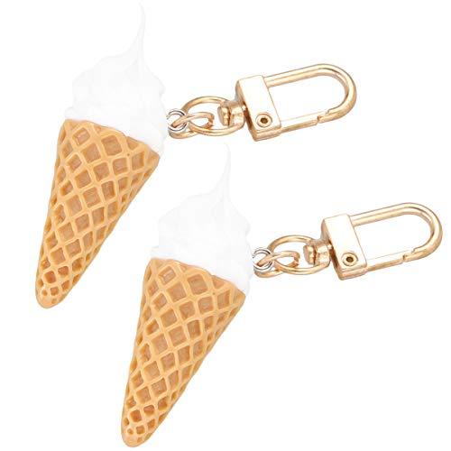 Lurrose 2pcs Conos de helado Colgando Llaveros Colgantes Coche Colgantes Adornos Titular de la Llave para Hombre Mujer Niños (Q026-01 Sin Caso de Auriculares)
