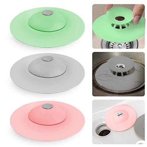 Ledeak 3 Stück Abflussstopfen, Universal Silikon Badewannenstöpsel Abflusssieb, Multifunktional Haarsieb Küche Waschbeckenstöpsel, Ideal für Badezimmer Spüle Boden