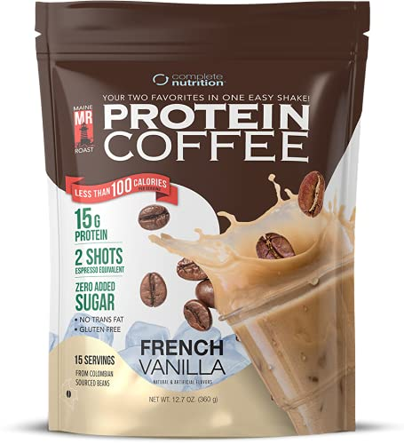 Complete Nutrition | Maine Roast Protein Coffee | French Vanilla Flavor | 15g Whey Protein | 2 Shots Espresso | 90 Calories | 12.7oz Pouch