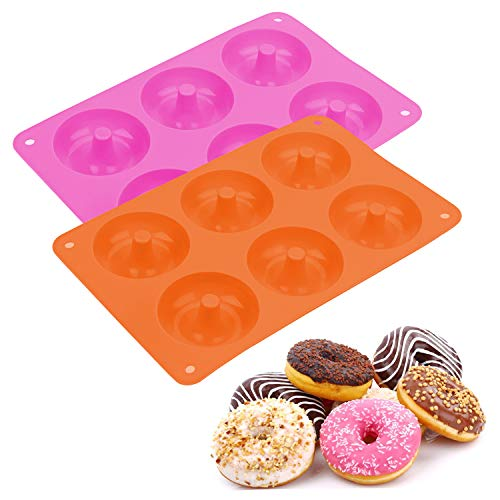 Lainrrew 2 Pcs Silicone Donuts Pan, Non-Stick Donut Baking Molds Donuts Trays for Doughnuts, Cupcake, Brownie