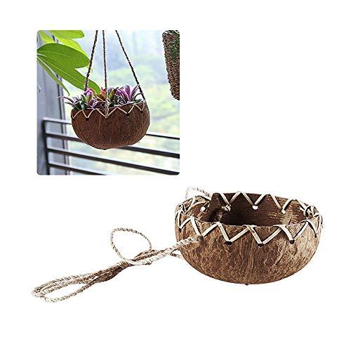 ZZM Natürliche Kokosnuss-Muschel-Übertopf, rund, hängend, für Garten, Gemüse, Blumen, Sukkulenten, Topf-Halter, Kleiderbügel für Zuhause, Garten, modern, dekorative Behälter